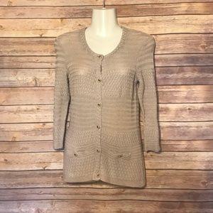 Trina Turk Small 100% Cotton Button Down Cardigan